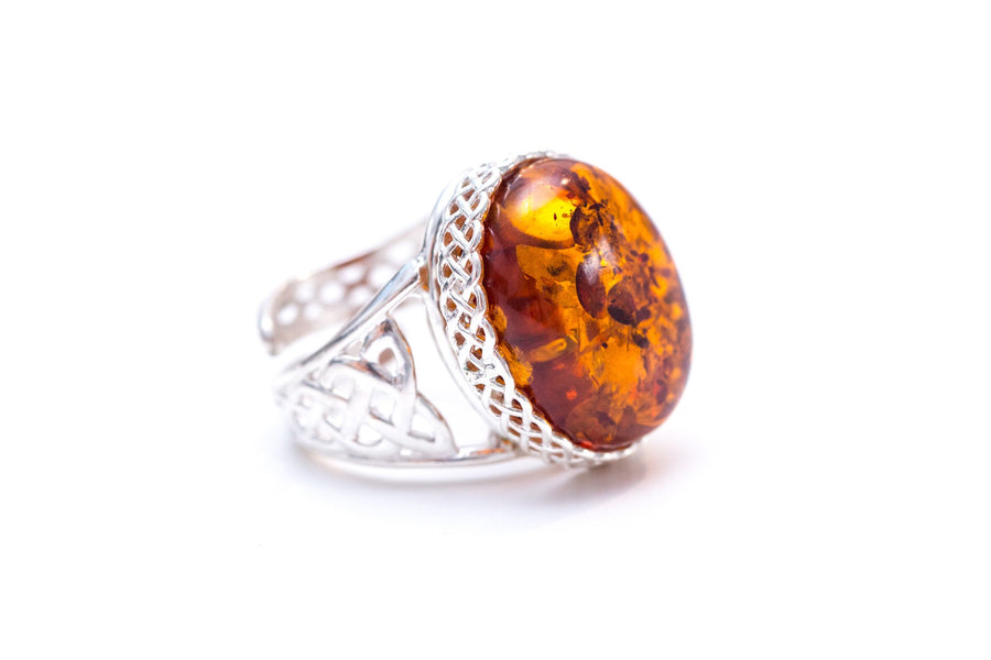 Woven Frame Cognac Amber Statement Ring