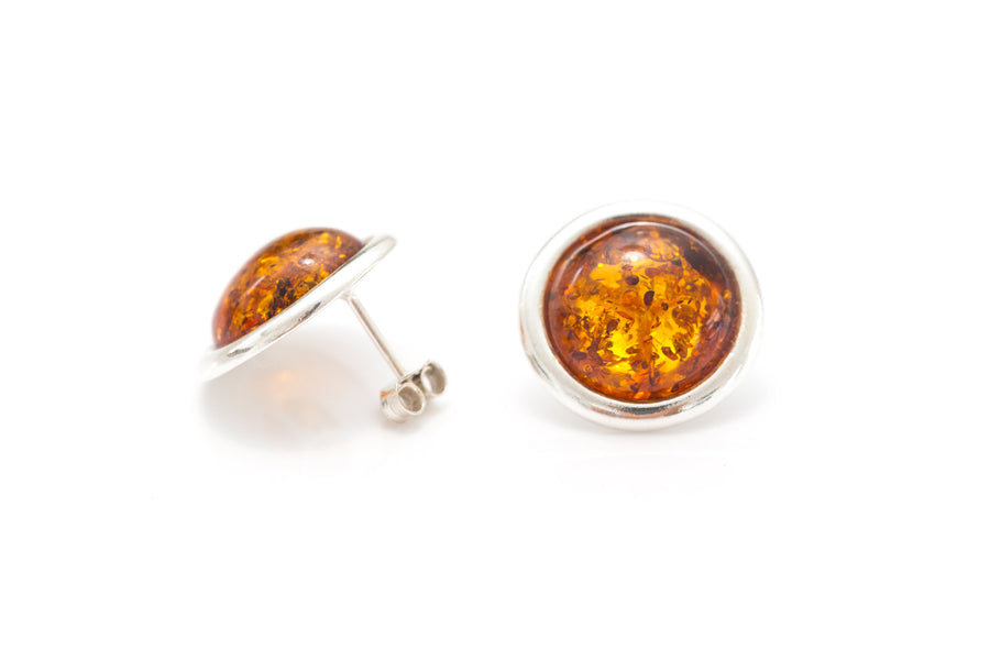 Statement Round Amber Stud Earrings
