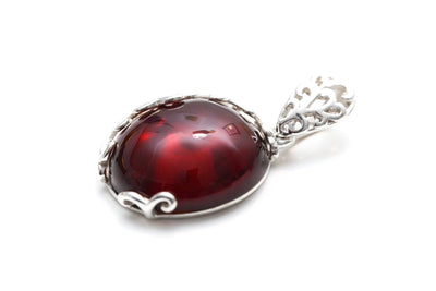 Cherry Red Amber Filigree Pendant