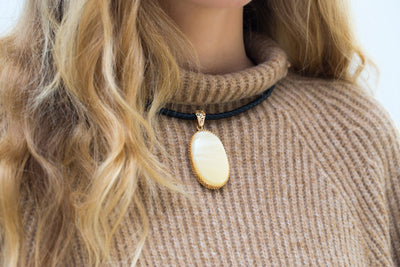 Gold Plated White Amber Pendant with Leather Necklace