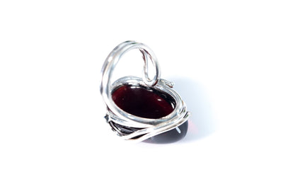 Pure Cherry Red Amber Cocktail Ring