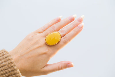 Oversized Butterscotch Yellow Amber Ring with Gold Plating