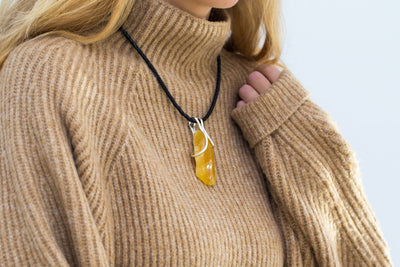 Organic Yellow Amber Pendant with Leather Necklace
