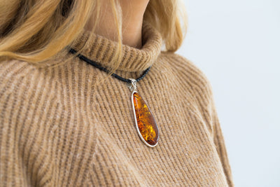 Elongated Statement Amber Necklace