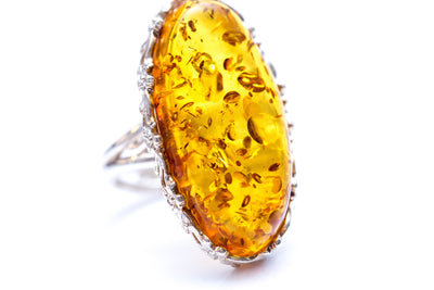 Unique Honey Amber Statement Ring