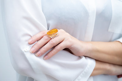 Handmade Honey Amber Statement Ring