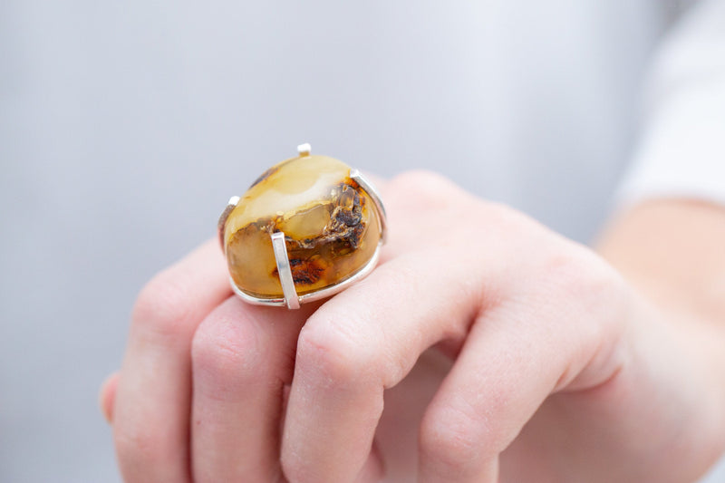 Natural RAW Amber Prong Ring