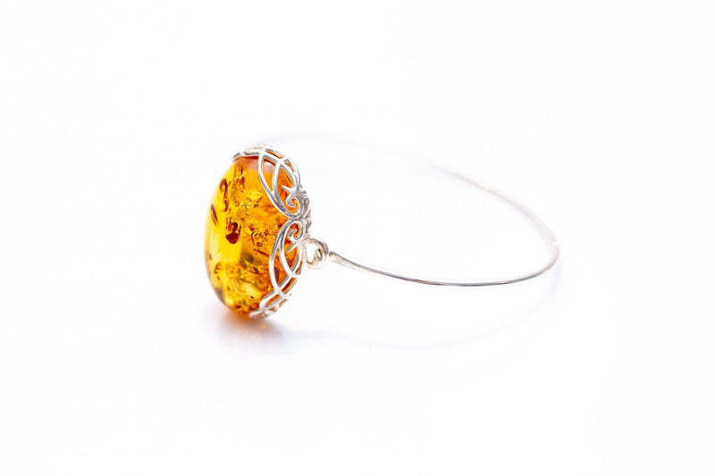 Modern Baltic Amber Fixed Bangle