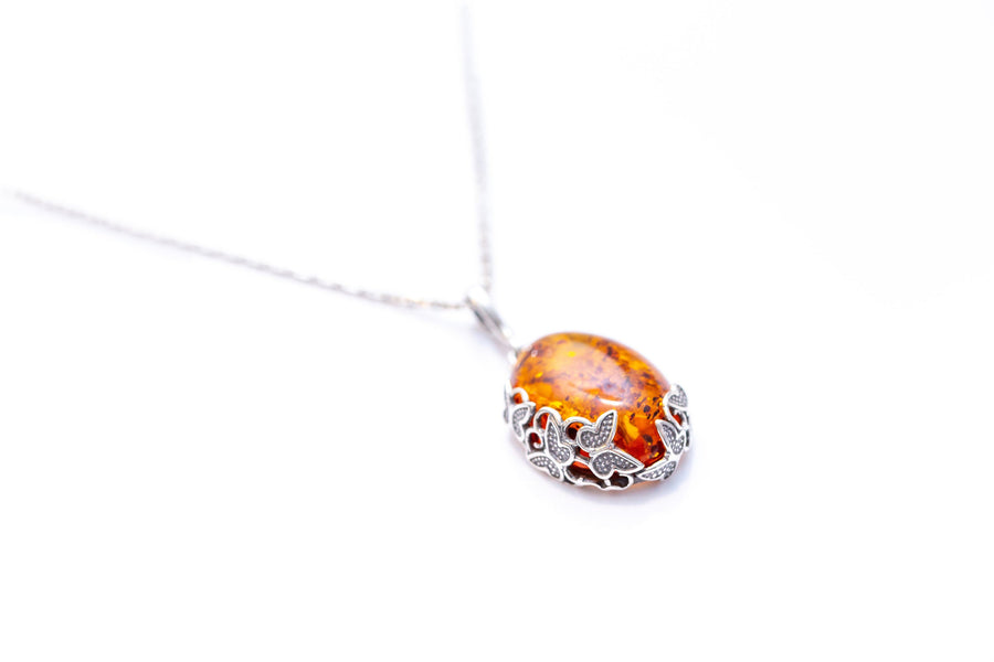 Oxidised Butterfly Amber Pendant