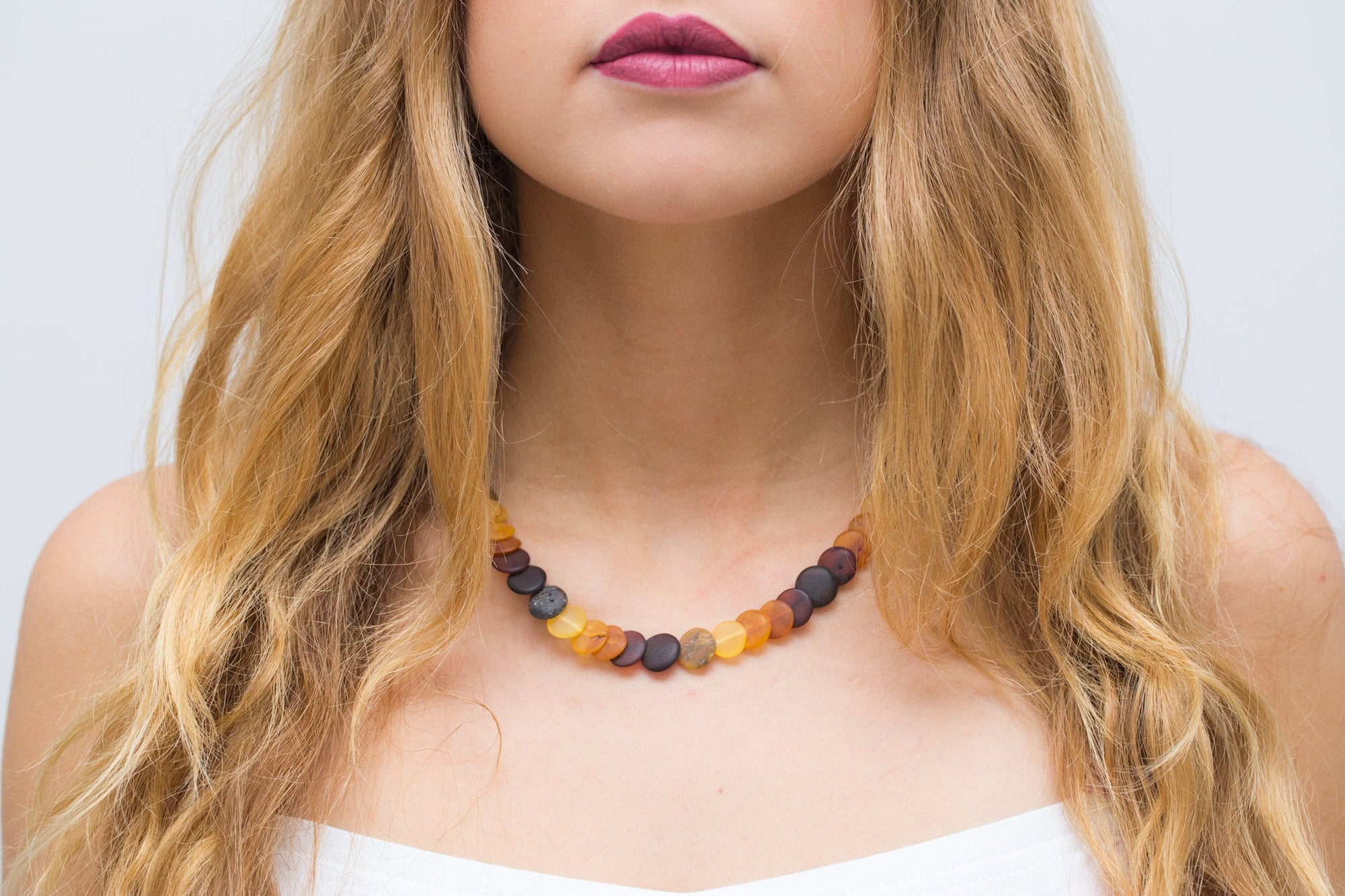 Small Amber Disc Necklace, Multicolour Amber Necklace