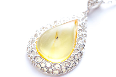 Modern Yellow Amber Pendant with Inclusion