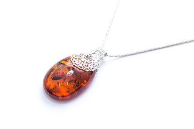 OOAK Calibrated Amber Pendant with Luxe Lace Filigree Design
