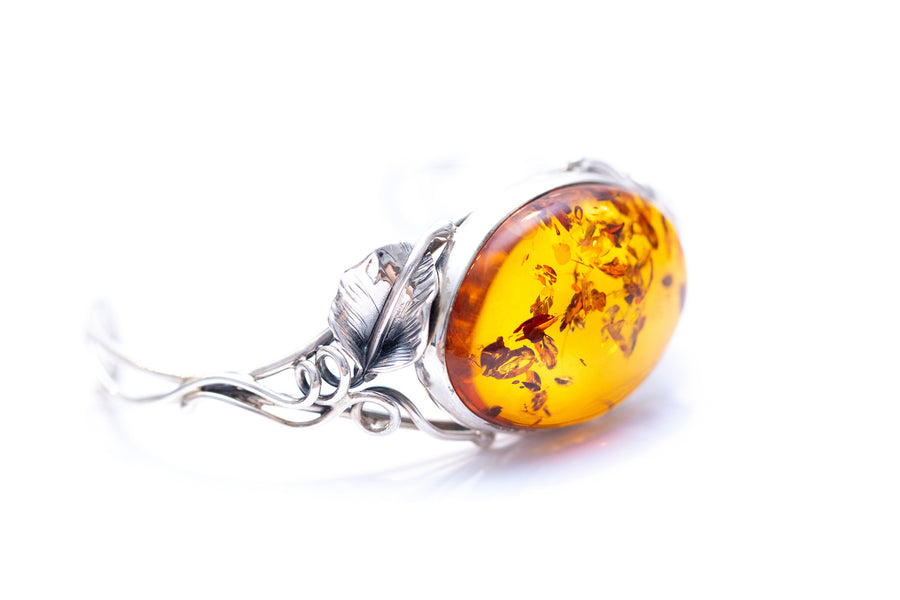 Rose Inspired Handmade Amber Bangle