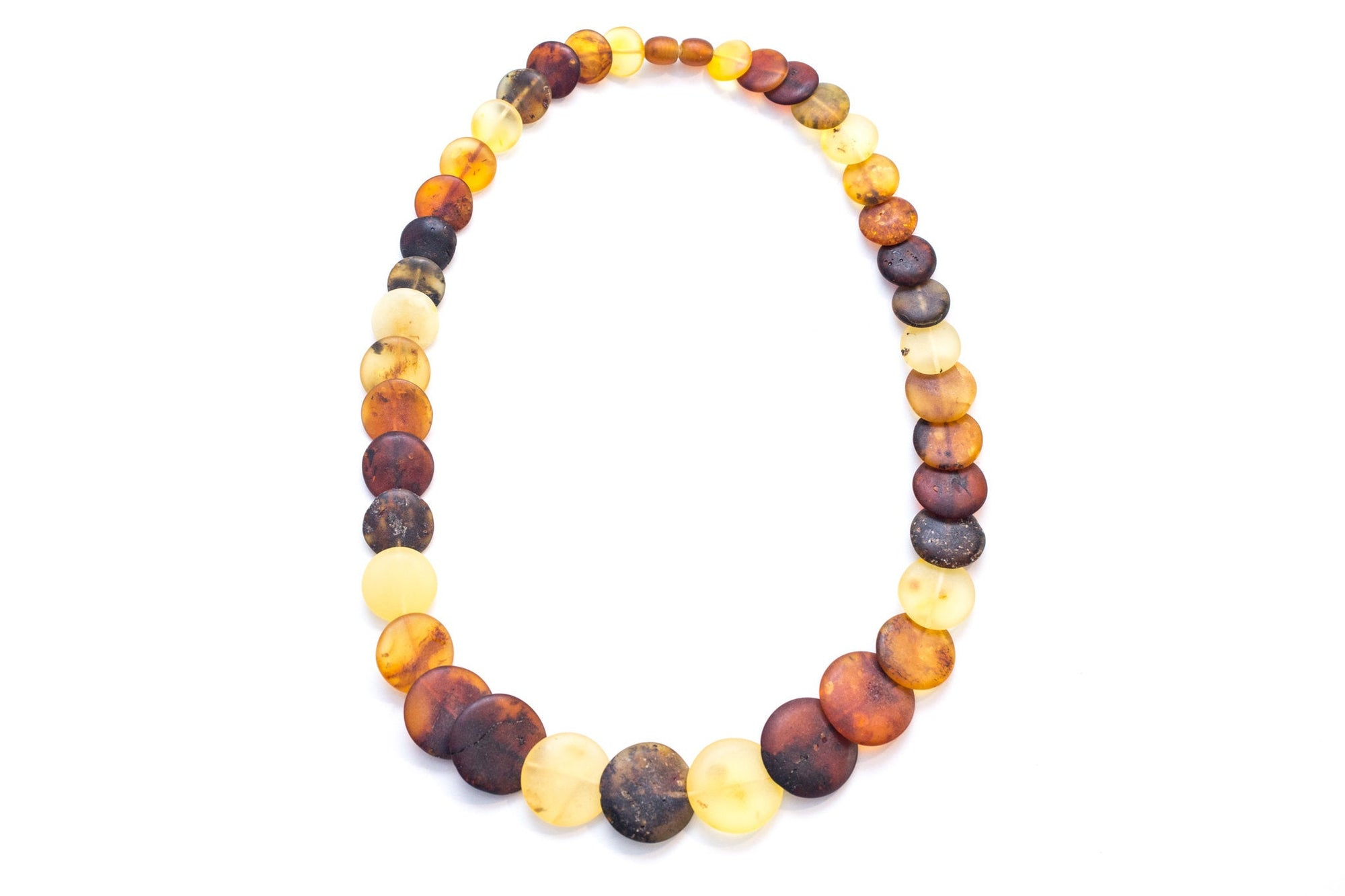 Colourful Amber Necklace - Round Amber Bead Necklace