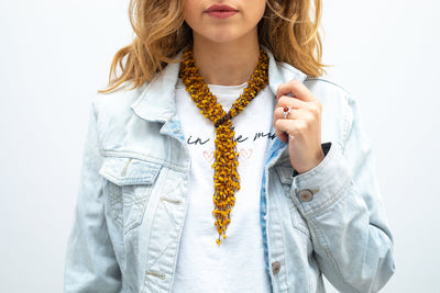 Transformable Long Amber Scarf Necklace