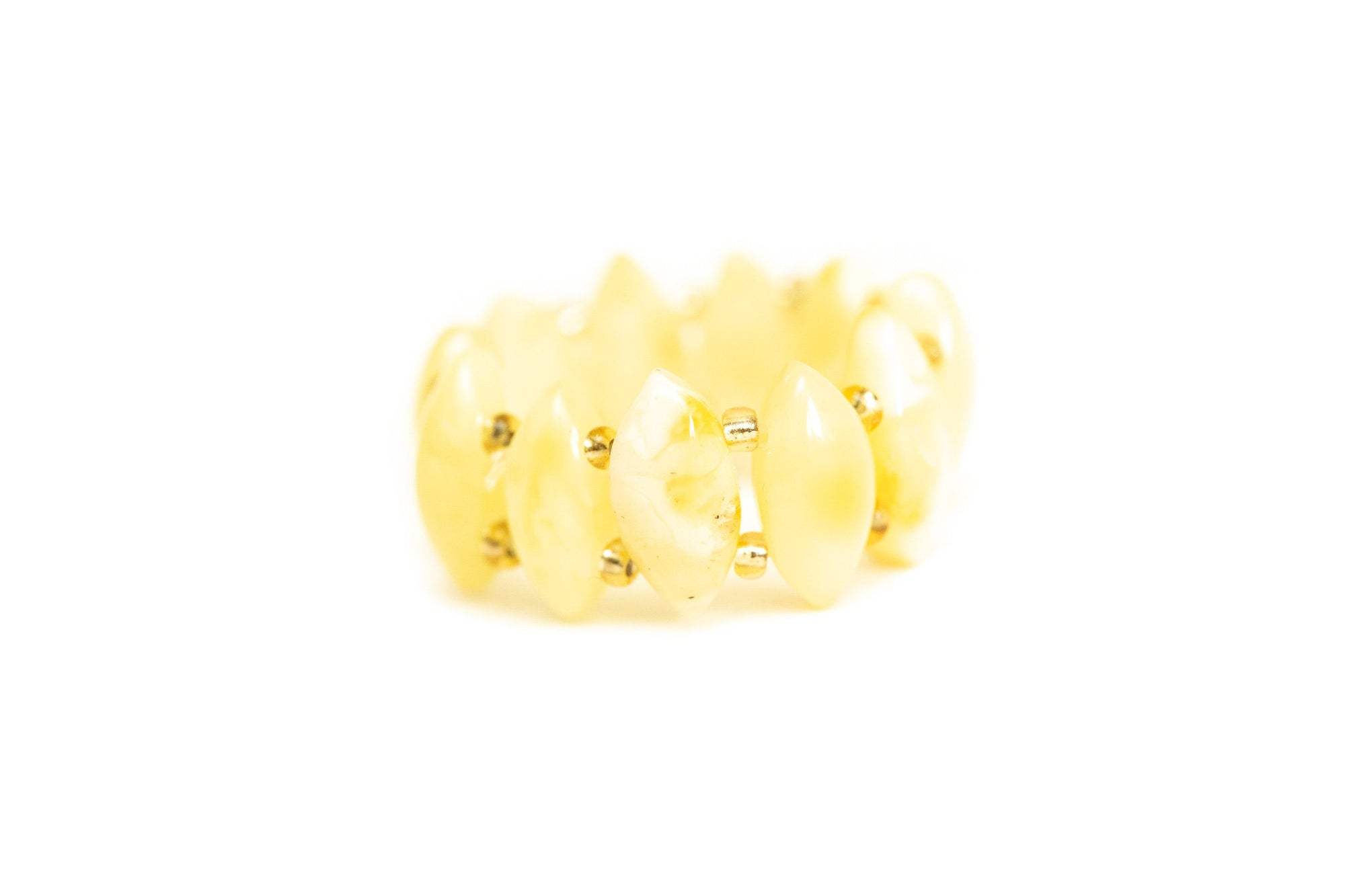 Stretchy Butterscotch Yellow Bead Ring