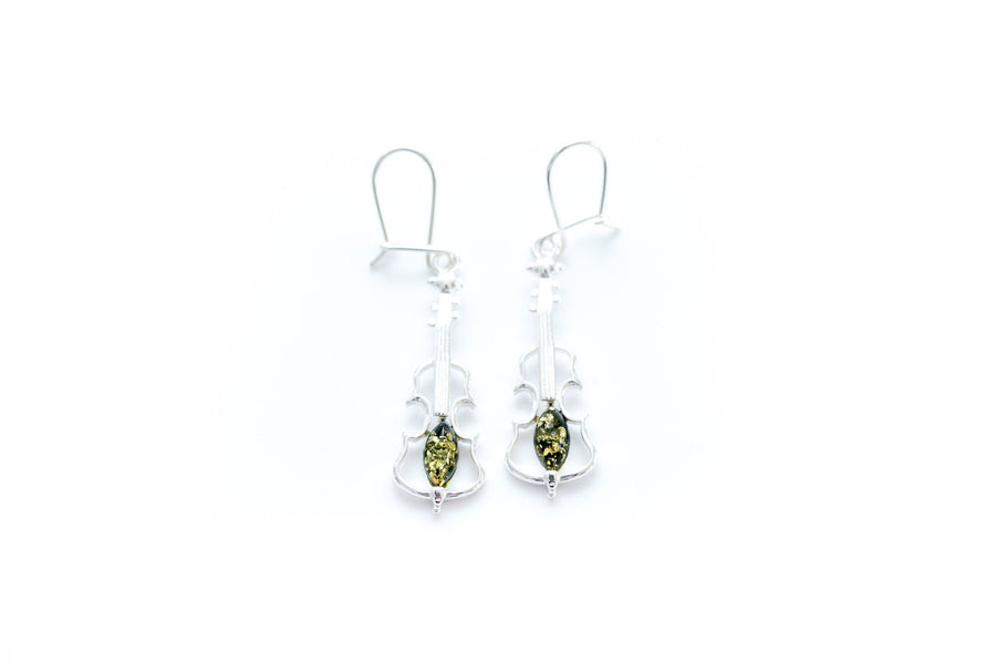 Green Amber Violin Earrings