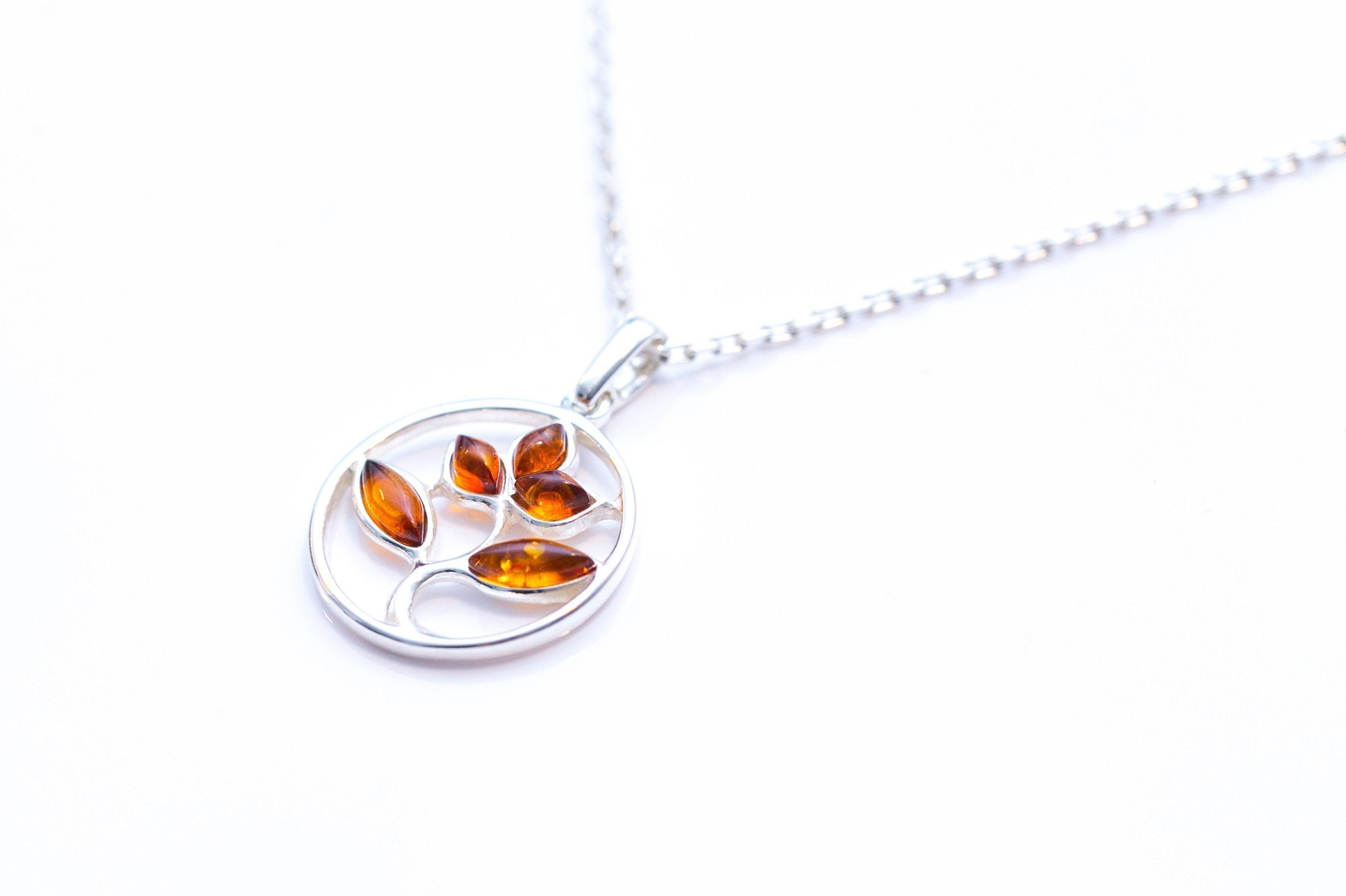 Amber Tree Charm Pendant, Minimal Amber Necklace
