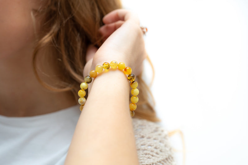 RAW Mixed Amber Sphere Bead Bracelet