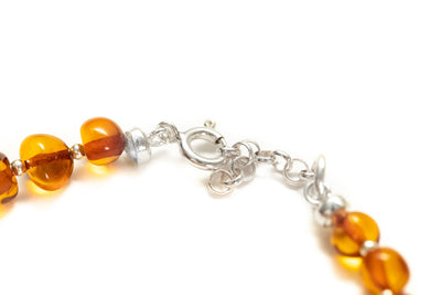 Silver and Polished Amber Nugget Bead Bracelet