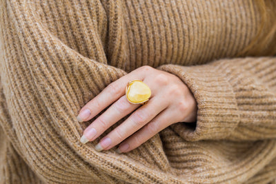 Oversized Gold Plated Yellow Amber Statement Ring