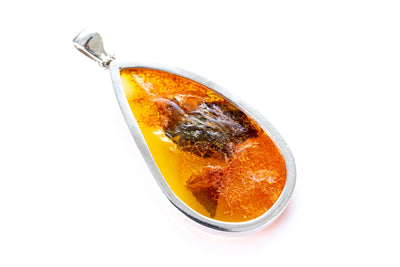 OOAK Tree Bark Inclusion Amber Pendant