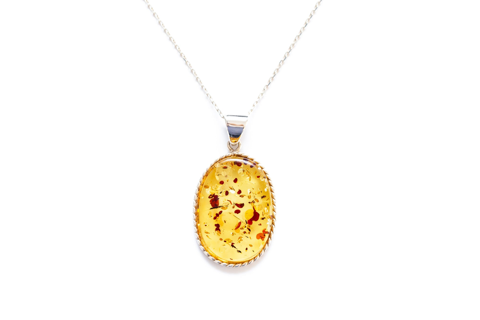 Handmade Speckled Honey Amber Braid Pendant