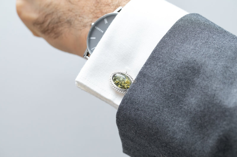 Quintessence Statement Green Amber Cufflinks