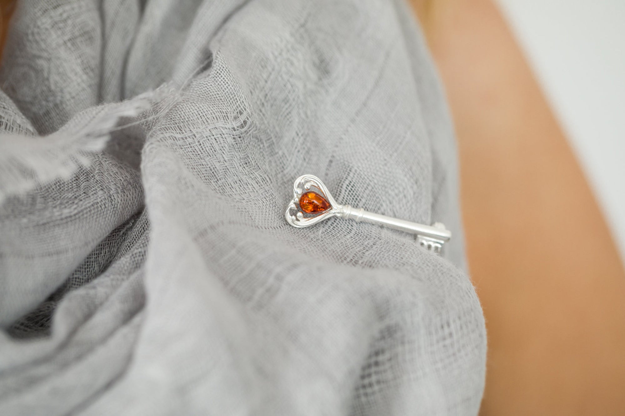 Amber Love Heart Key Brooch