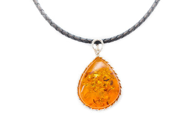 OOAK Amber Pear Drop Pendant Necklace