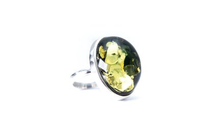 Handmade Bulbous Green Amber Ring
