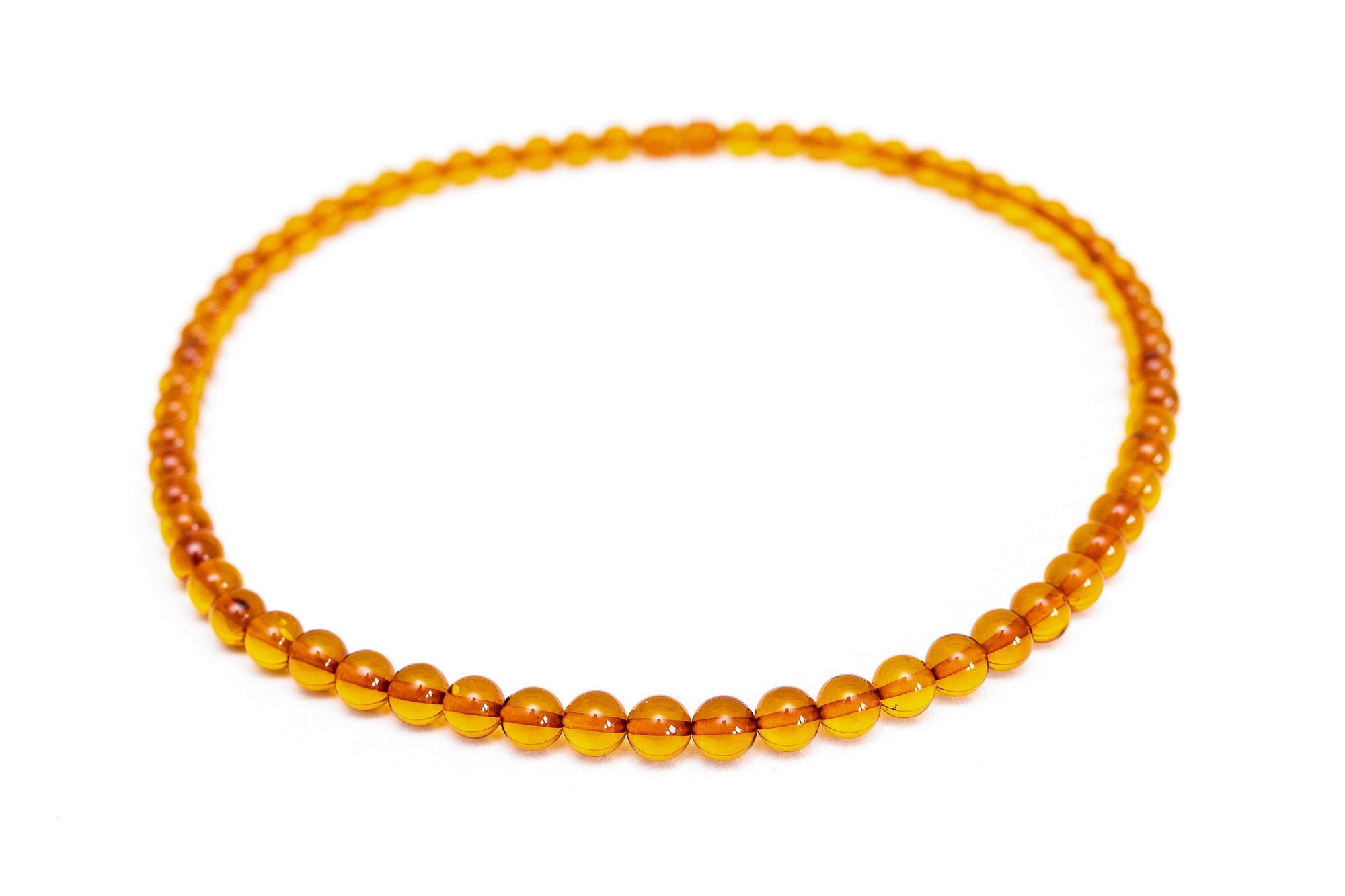 Classic Amber Sphere Bead Necklace