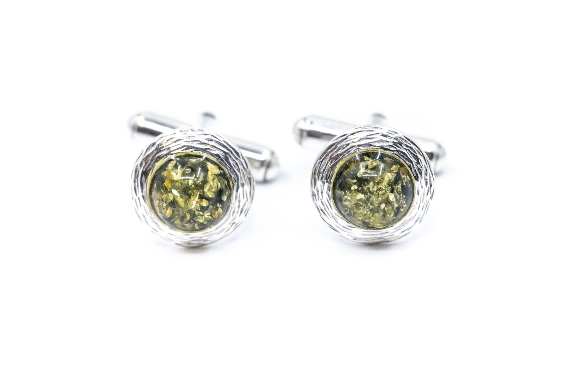 Textured Frame Green Amber Cufflinks