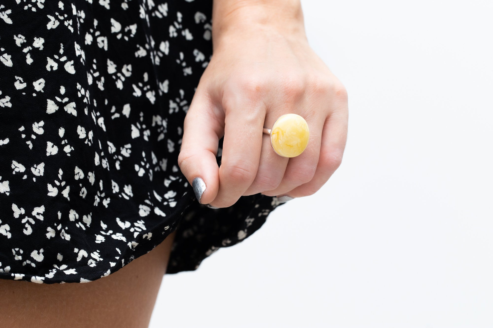 Big Yellow Amber Cocktail Ring