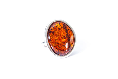 Cognac Red Amber Cocktail Ring