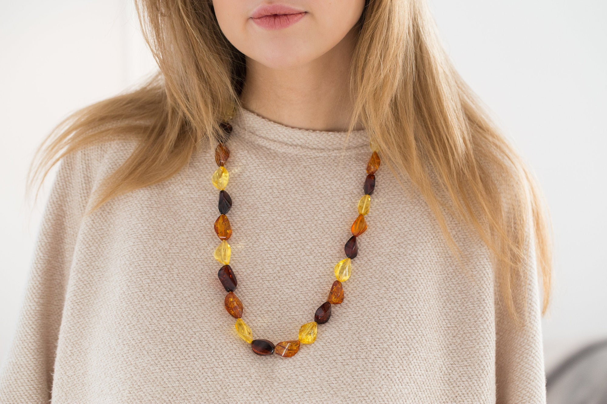 70cm Multicolour Amber Necklace, Luxury Baltic Amber Bead Necklace