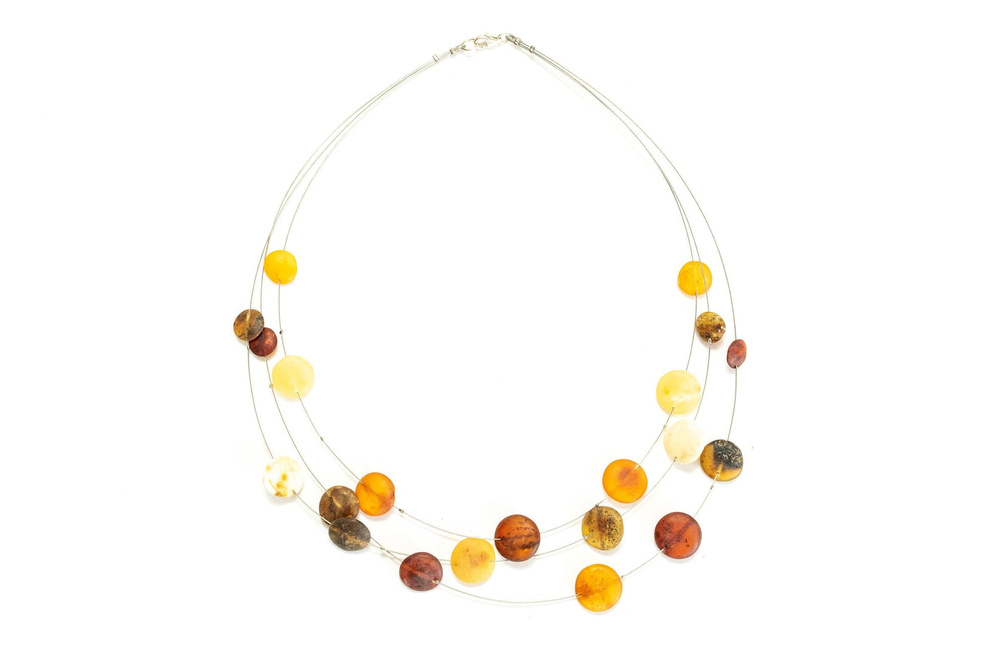 Amber Disc Necklace, Layered Amber Necklace, Minimal Bead Necklace