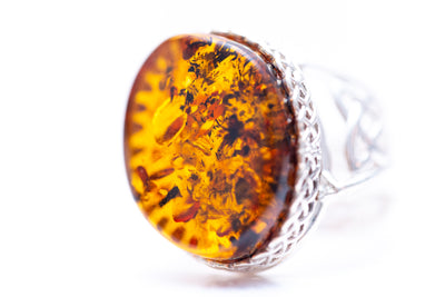 Modern Woven Frame Amber Statement Ring
