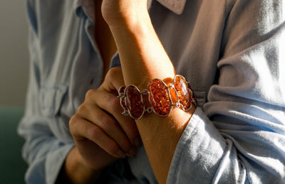 Rough Cut Amber Set Link Bracelet