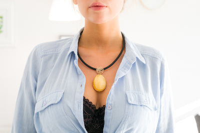 Yellow Amber Pendant with Black Leather Cord Necklace