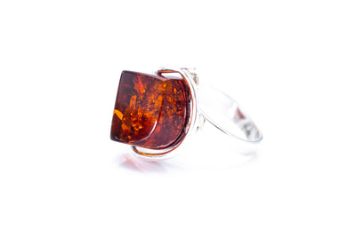 Faceted Cognac Amber Statement Ring