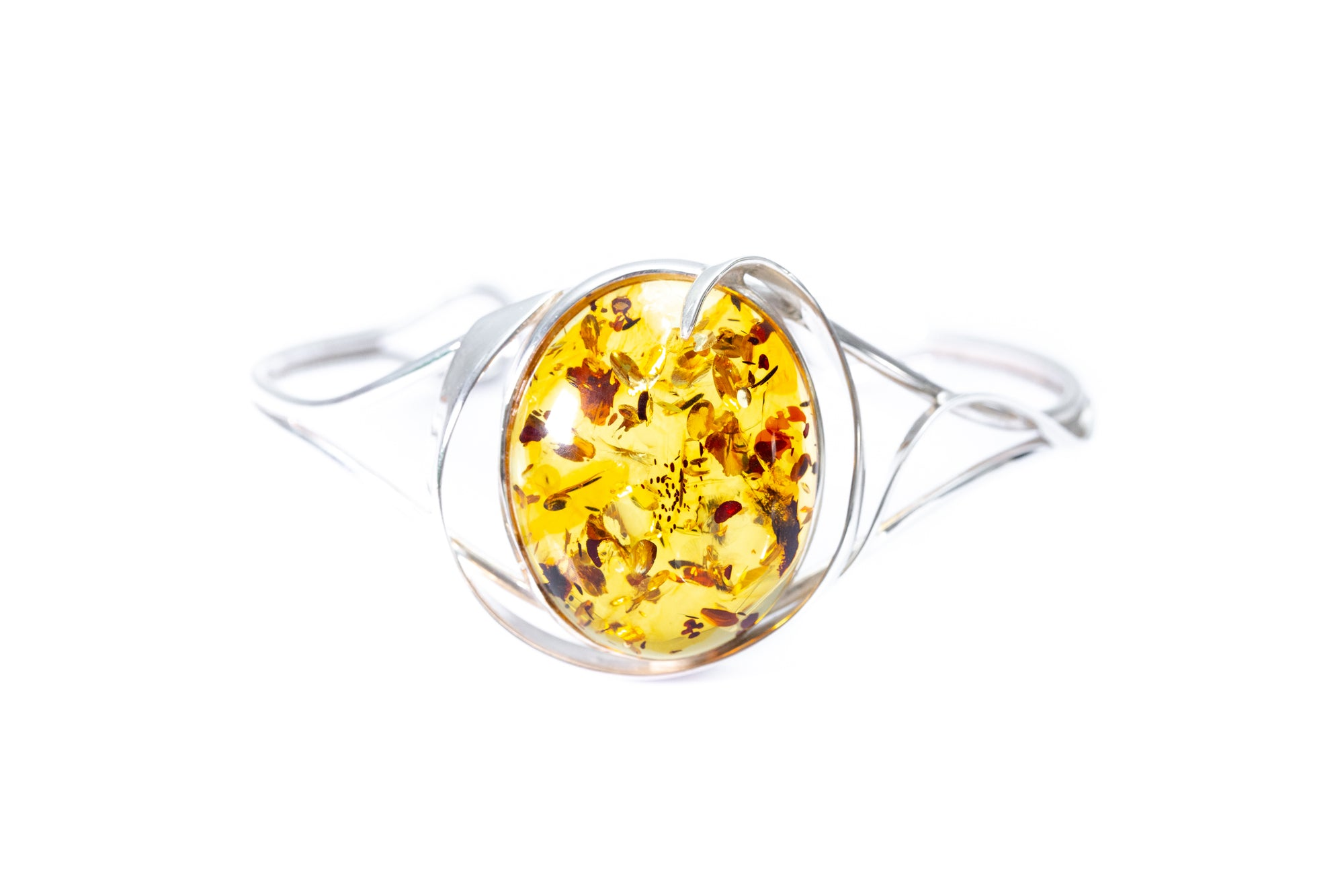 Contemporary Halo Frame Amber Bangle