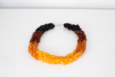 Gradient Chunky Amber Necklace & Bracelet Jewellery Set