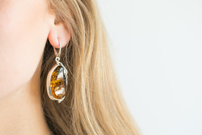 Unique Vintage Styled Amber Earrings