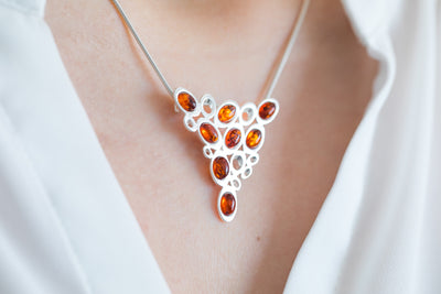 Small Amber & Silver Bib Necklace