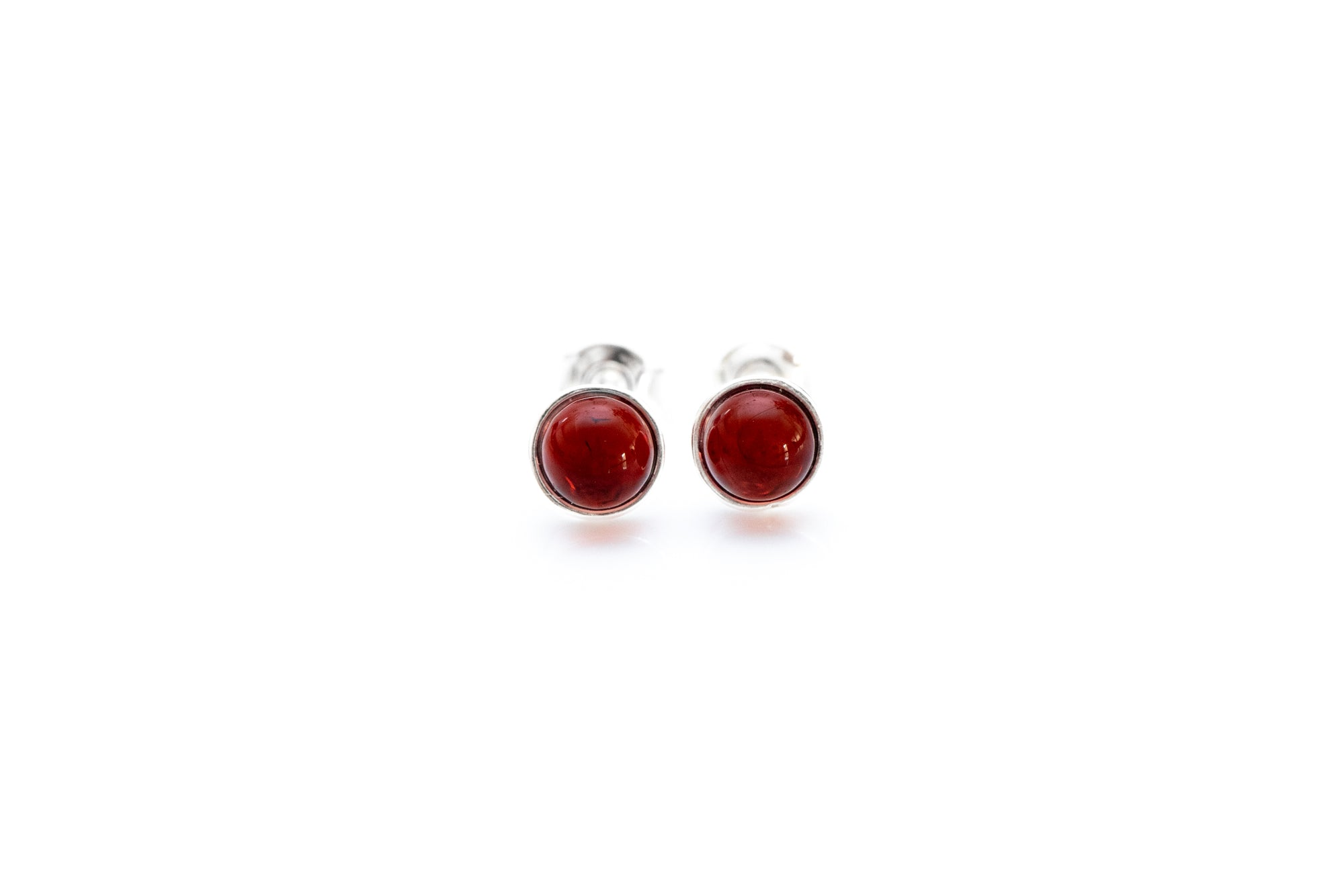 ESSENTIALS Mini Cherry Red Amber Stud Earrings