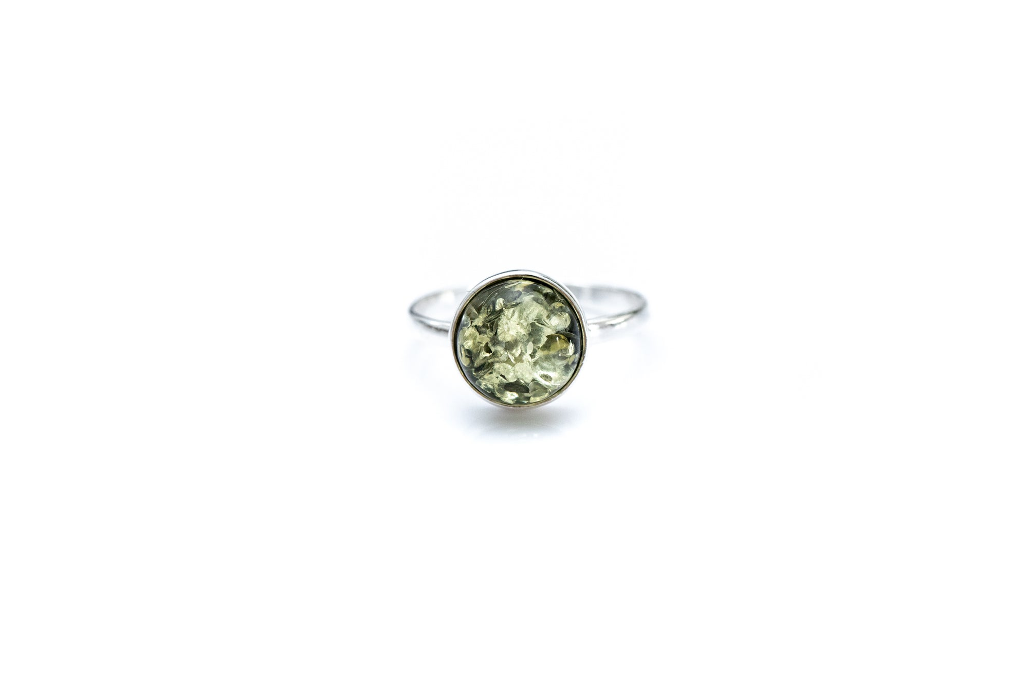 ESSENTIALS Green Amber Solitaire Ring