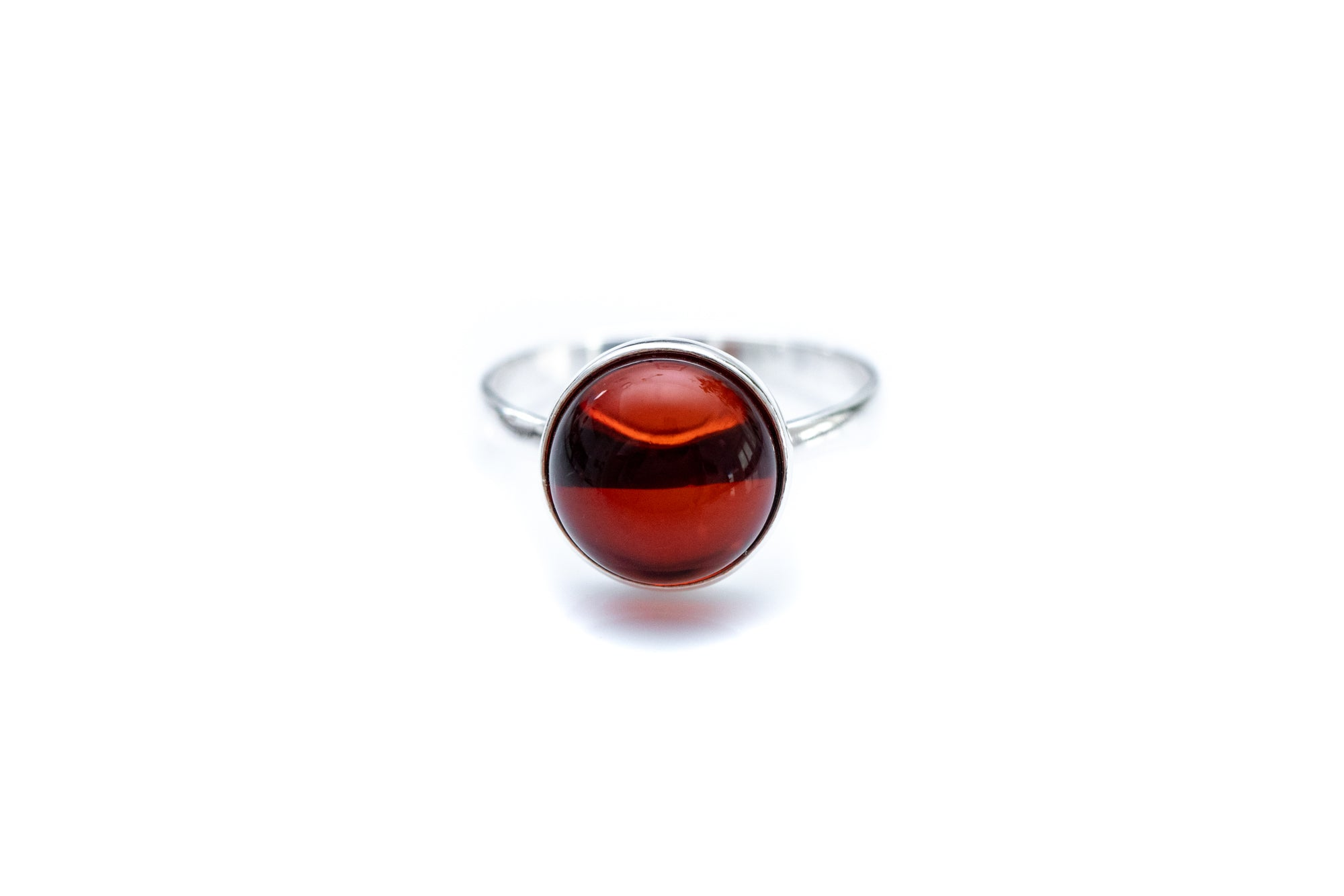 ESSENTIALS Cherry Red Amber Solitaire Ring