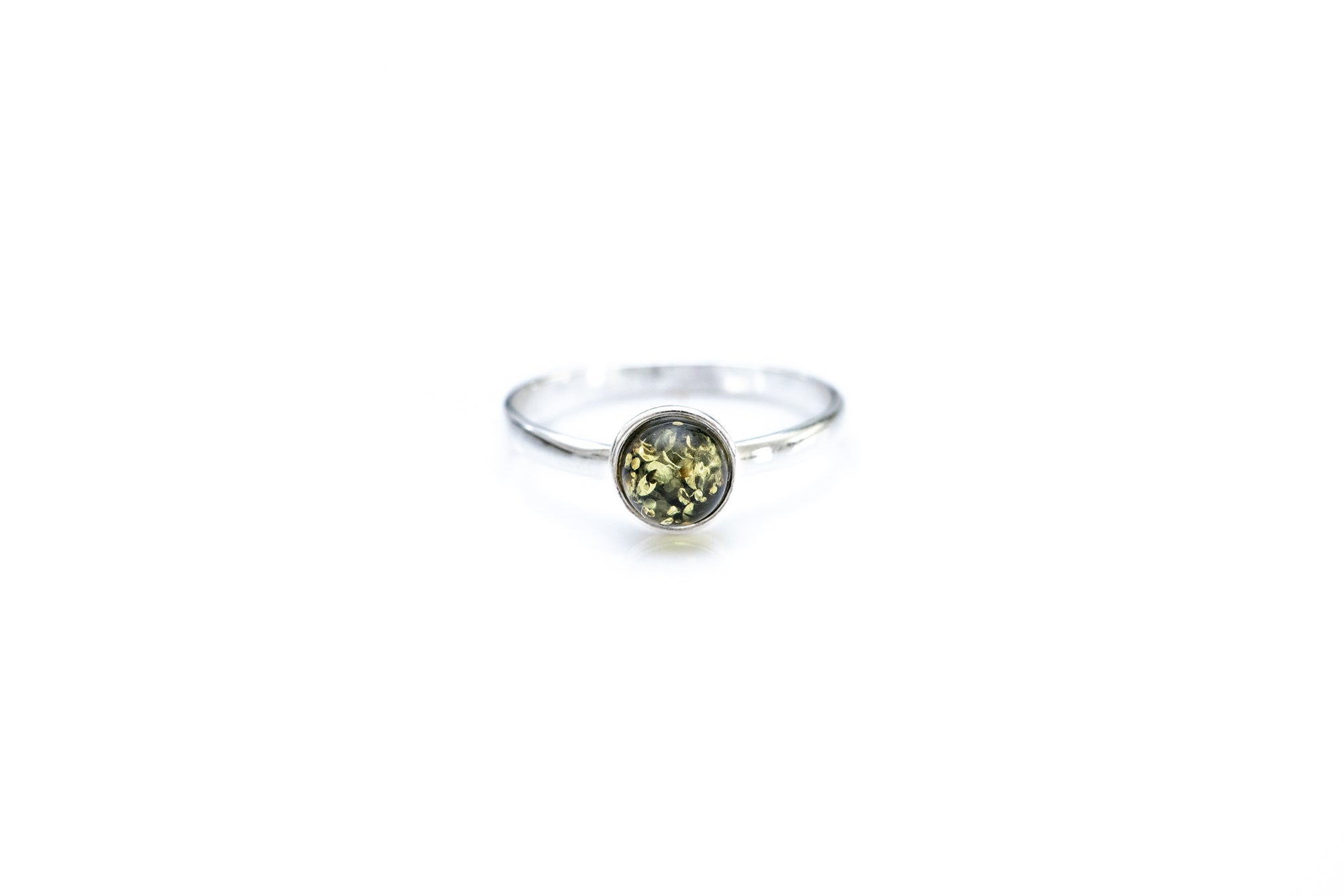 ESSENTIALS Mini Green Amber Stacking Ring