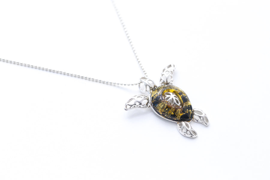 Green Amber Sea Turtle Charm Pendant